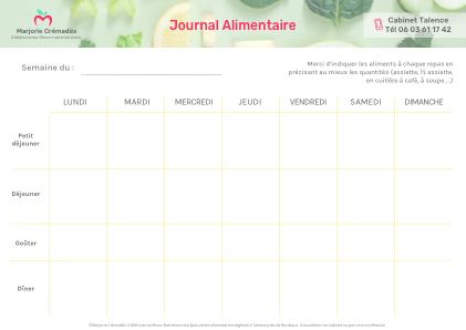 Journal Alimentaire Diététique vierge
